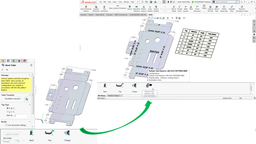 medium resolution of figure 1 automatic bend tables bend notes and flattened 3d view supported in solidworks mbd 2019