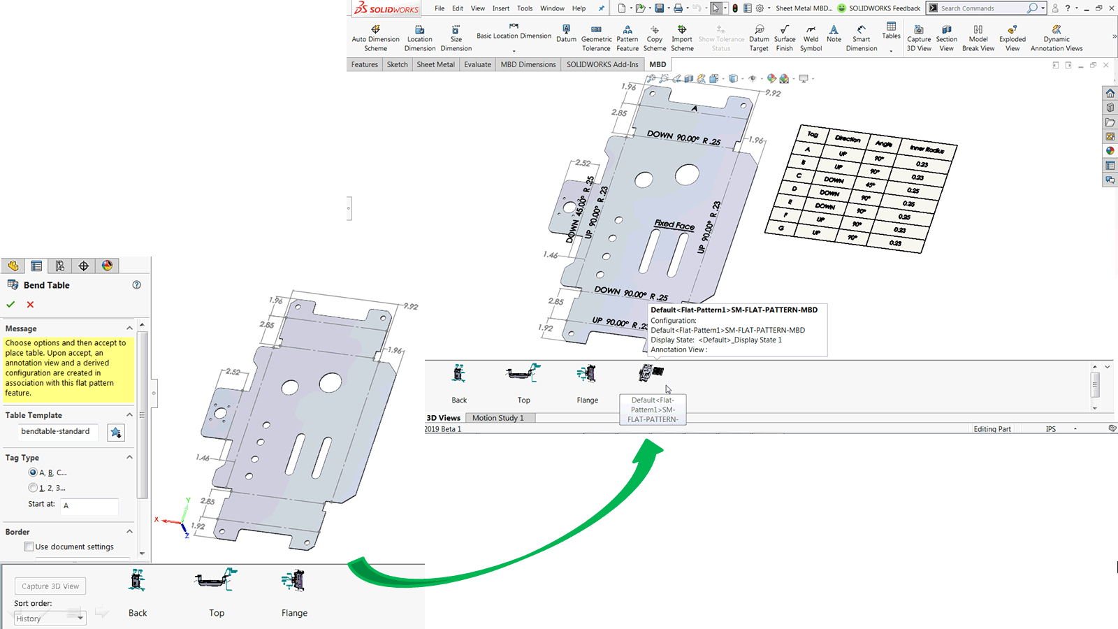 hight resolution of figure 1 automatic bend tables bend notes and flattened 3d view supported in solidworks mbd 2019