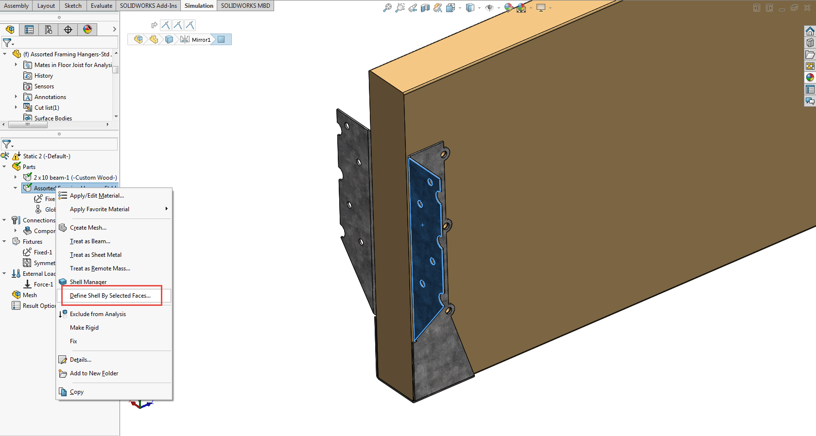 solidworks simulation define shell
