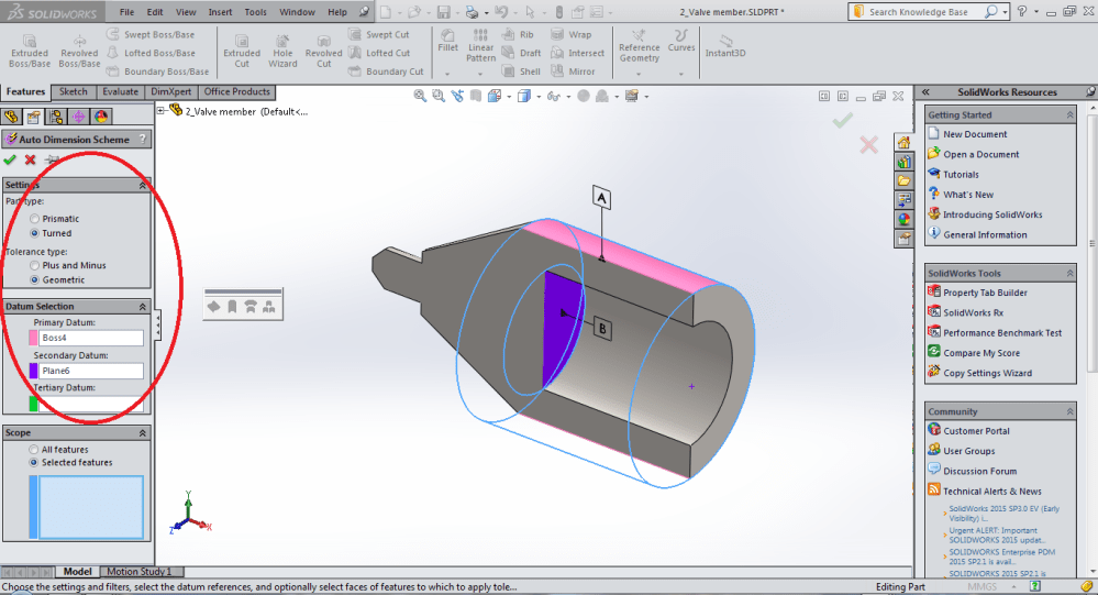 medium resolution of plunger datum selection using dimxpert in solidworks