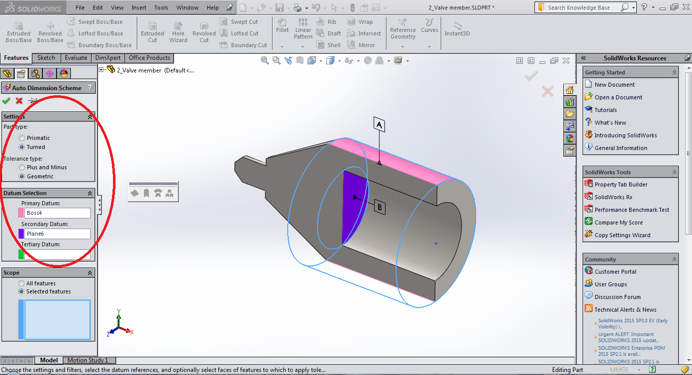 hight resolution of plunger datum selection using dimxpert in solidworks