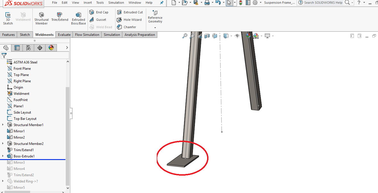 Using Weldments and its features