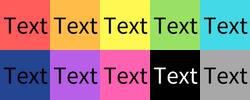 Text-Comparison on different colour backgrounds