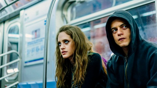 "MR. ROBOT -- ""eps2.7_init_5.fve"" Episode 209 -- Pictured: (l-r) Carly Chaikin as Darlene, Rami Malek as Elliot Alderson -- (Photo by: Michael Parmelee/USA Network)"