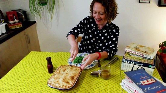 Image of Stella cutting into a Woolton pie