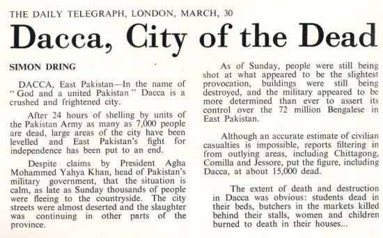 Page from The truth about Bangla Desh titled 'Dacca, city of the dead''