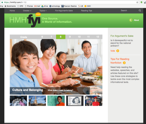 Screenshot of the hmh FYI website
