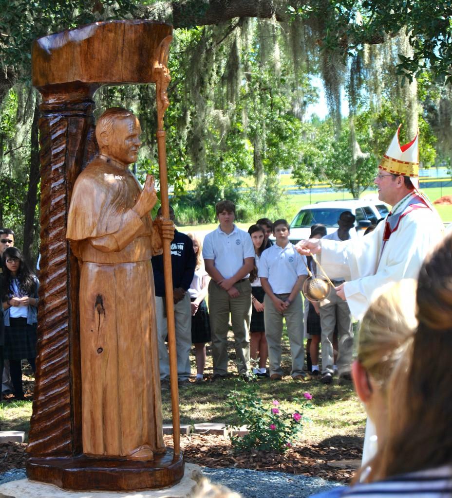 Bishop Parkes Blesses Statue - Benjamin Horbowy