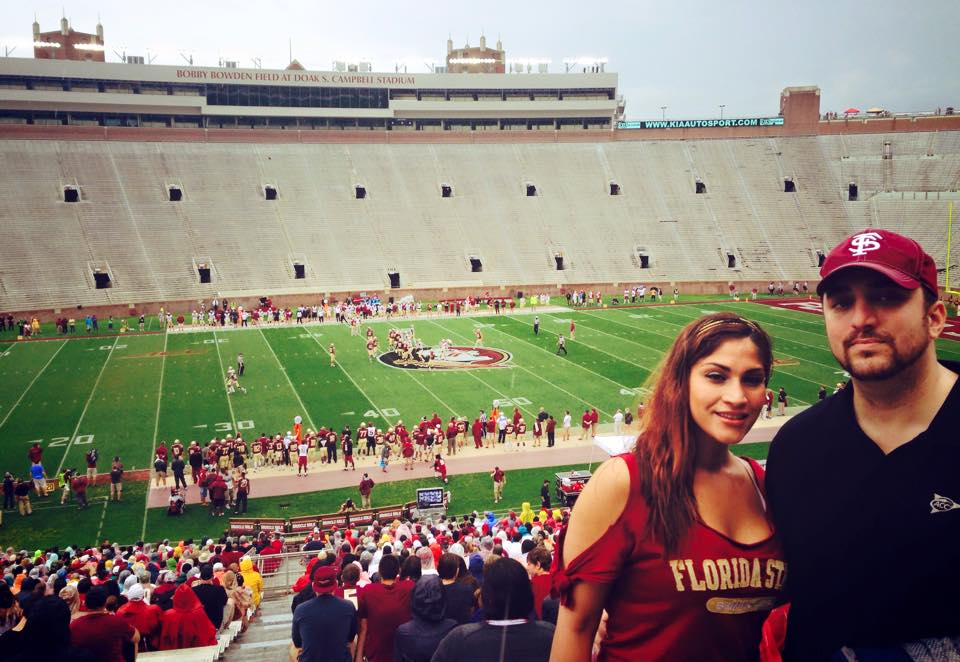 Benjamin and Susan Horbowy attend the Spring Game at Florida State University