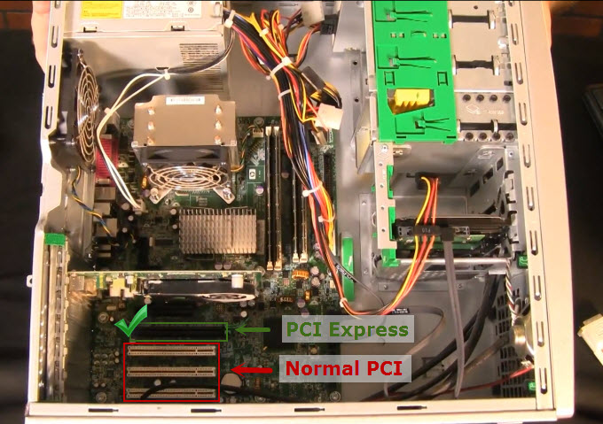 Graphic for locating the correct PCI port to use in capture card installation for screen capture on tablets