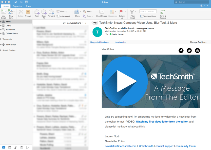 Image of TechSmith Newsletter Email