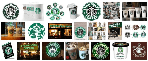 Visual communication - a series of Starbucks logos illustrating a similar tone and feel