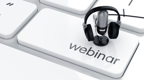 webinar keyboard key with headphones and mic