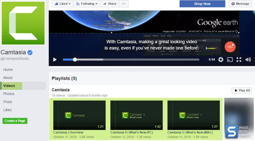TechSmith Camtasia Facebook page showing video tab and highlighted social media video playlist
