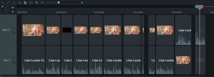 Timeline bearbeiten Video Übergangseffekte