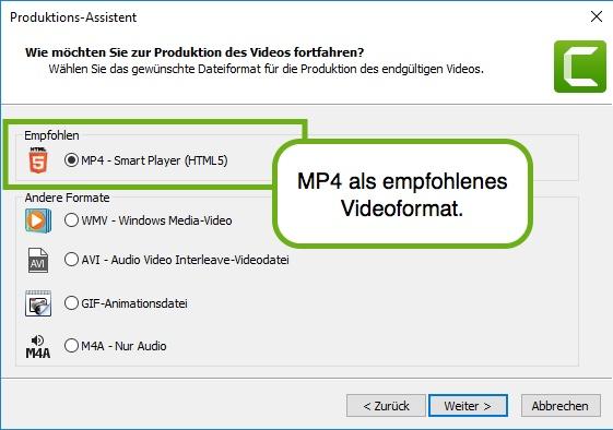 Das MP4 Format wird als Videoformat oft empfohlen