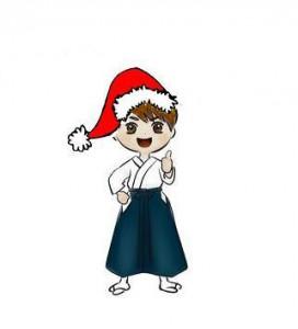 Aikidoka con gorro navidad
