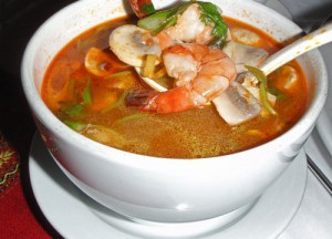 Tom Yum Goong, a spicy soup