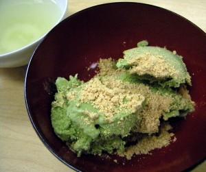 green tea ice cream with nutty roasted soy bean flour on top