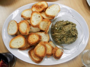 eggplant dip and toasts