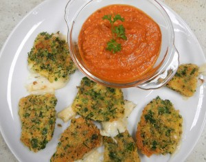 fried Manchego cheese with Romesco sauce