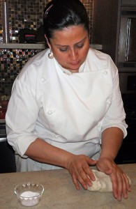 Chef Rosanna demonstrates how to prepare the masa