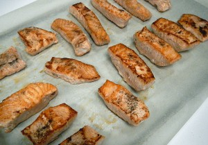 browned salmon fillets