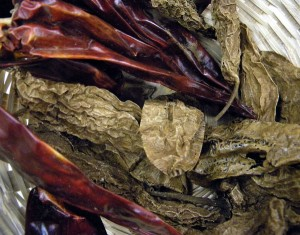 Chipotle (brown) and Guajillo (red) chiles for the mole Veracruzana