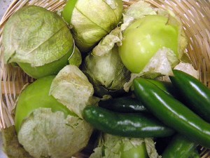Tomatillos and serrano chiles for the salsa verde