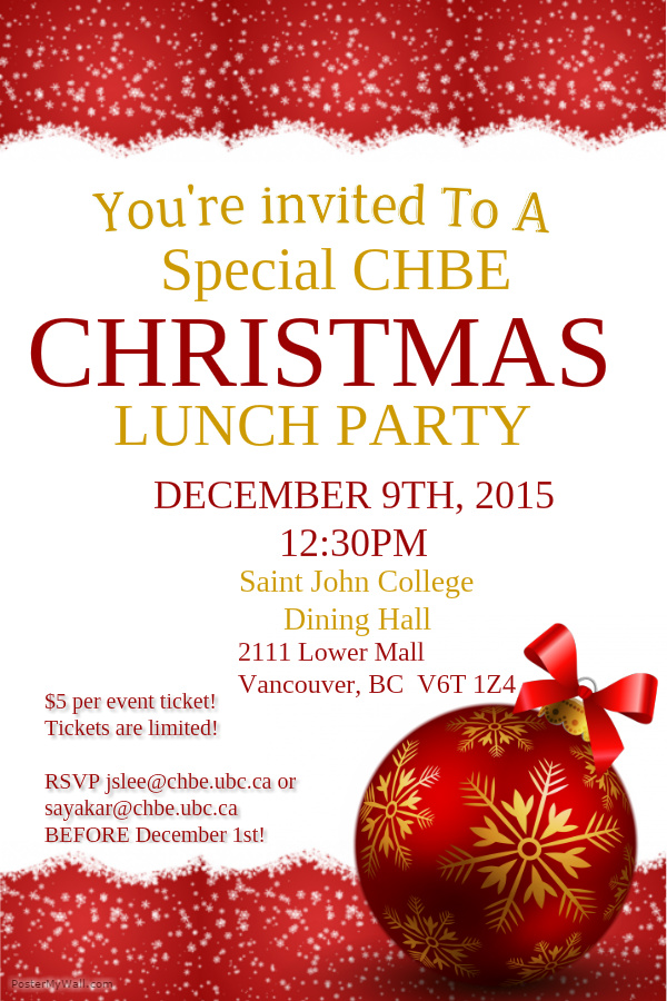 Invitation to CHBE Christmas Lunch Party 2015  CHBE Graduate Students Council