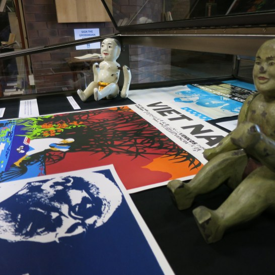 Included as part of this exhibition are a number of posters from the archival collections and Vietnamese water puppets. The art and practice of Water puppetry in Vietnam dates back to the 11th century.