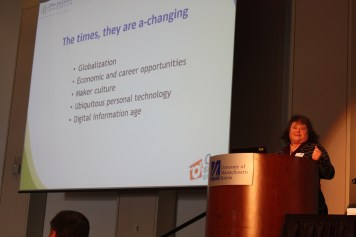 Mary Lou Forward of Open Education Consortium delivers keynote presentation