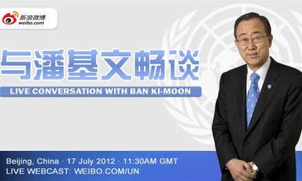 In China, Secretary-General Ban Ki-moon takes to Weibo