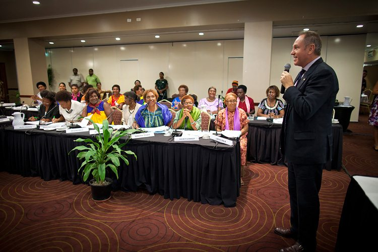 UN PNG Resident Coordinator, David Mclachlan-Karr, addresses the 68 women candidates who participated in the first ever PNG Practice Parliament for Women.