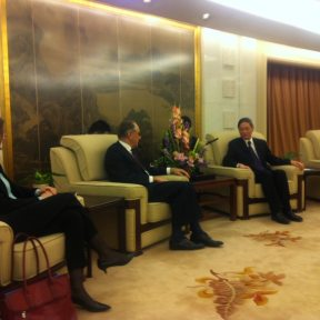 During his visit to China, UN Deputy Secretary-General Jan Eliasson holds talks with Vice Minister of Foreign Affairs of China Mr. Zhang Zhijun.