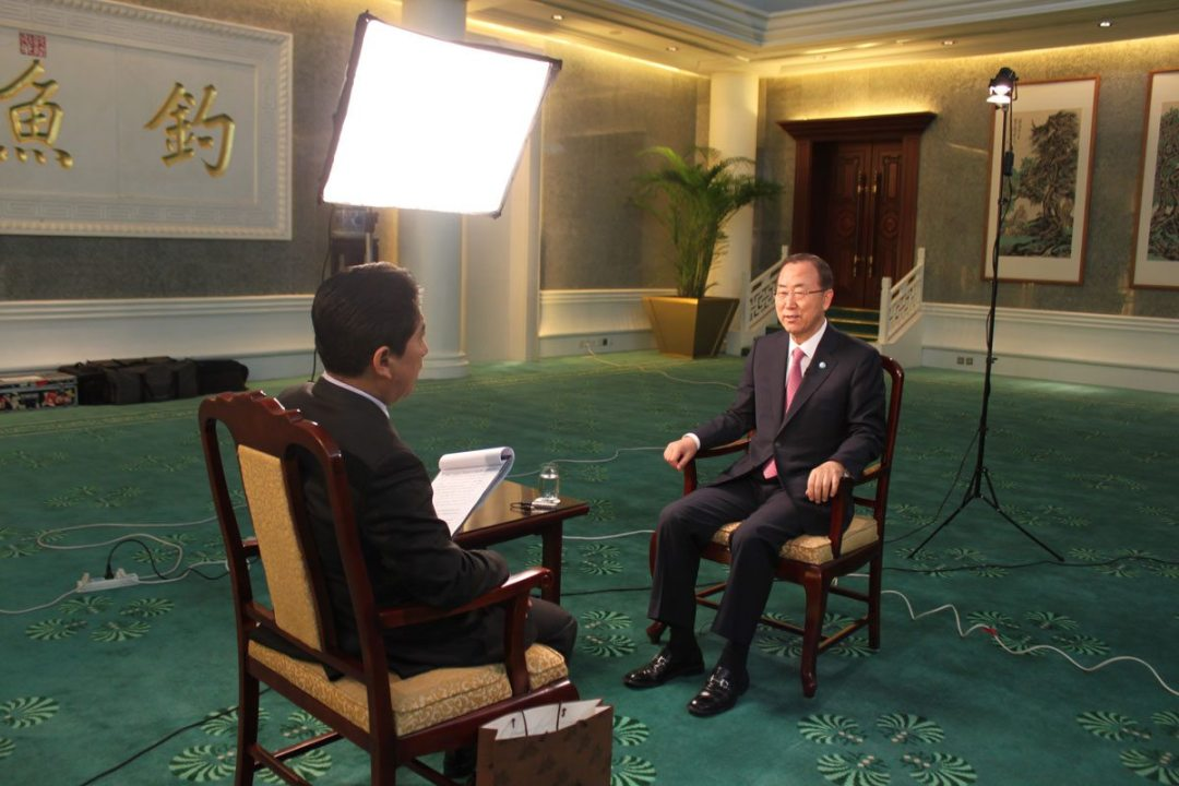 The Secretary General is being interviewed by CCTV anchor Mr. Shui Junyi on a variety of issues, from Syria and the Korean peninsula to UN peacekeeping.
