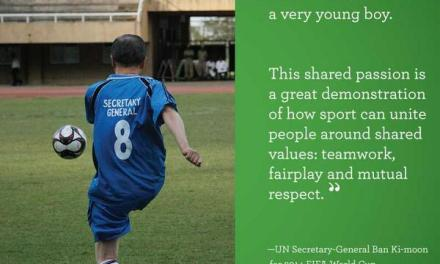 Who is Secretary-General Ban Ki-moon supporting in the World Cup?