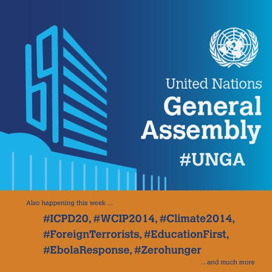 Just some of the many UNGA hashtags for the 69th session