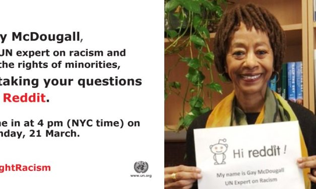 """Reddit """"Ask me anything"""" session on eliminating racism with human rights expert Gay McDougall"""
