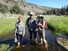 Field camp students, including lab alumna Eva (right), exploring Cave Basin