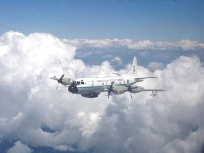 NOAA WP-3D during intercomparison flight over Alabama, June 2013