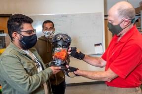 Shahbaz Qureshi, Praphulla Chandra Boggarapu, and Dan Jaffe conduct mask research, July 2020