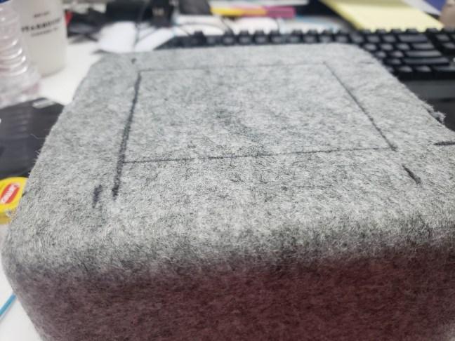 An outline drawn on EMAR's felt head box