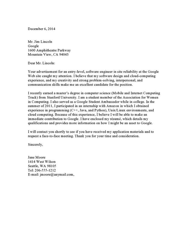Sample Cover Letter to a Google RecruiterVault BlogsVaultcom