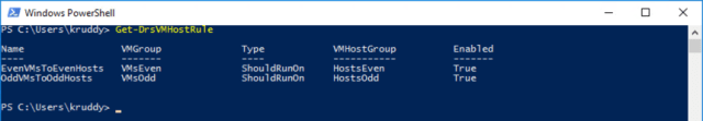 Displaying VM-Host Rules