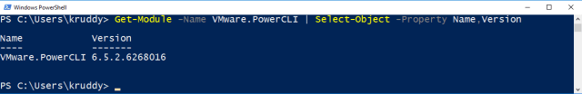 Example: Obtaining the version of the VMware.PowerCLI module