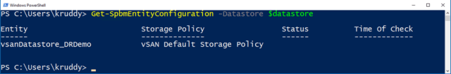 Example: Viewing SPBM Policies for datastores