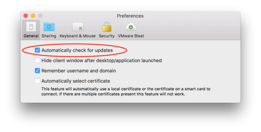 VMware Horizon Client for Mac 4.4_automatic check for updates
