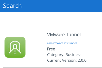 Store view of the VMware Tunnel App