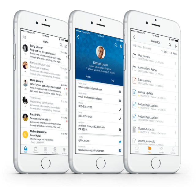 Boxer, People, Search and Files apps